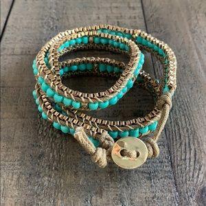 Wraparound gold turquoise stone bracelet✨